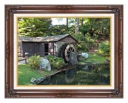 Brandie Newmon Rustic Water Mill Wheel canvas with dark regal wood frame