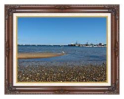 Brandie Newmon Provincetown Harbor canvas with dark regal wood frame