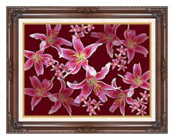 Brandie Newmon Lilies canvas with dark regal wood frame