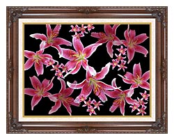 Brandie Newmon Lily canvas with dark regal wood frame