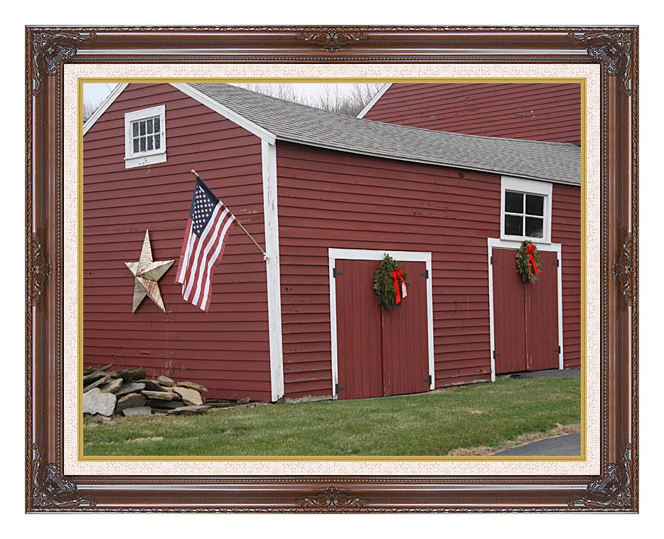 Kim O'Leary Photography Winter Red Barn with Dark Regal Frame w/Liner