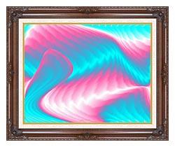 Lora Ashley Miami Surf canvas with dark regal wood frame