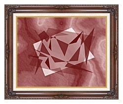 Lora Ashley Fragments Unite Cranberry Brown canvas with dark regal wood frame