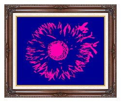 Lora Ashley Blue And Pink Flower Abstract canvas with dark regal wood frame