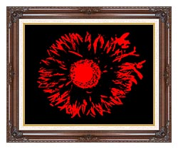 Lora Ashley Black And Red Flower Abstract canvas with dark regal wood frame