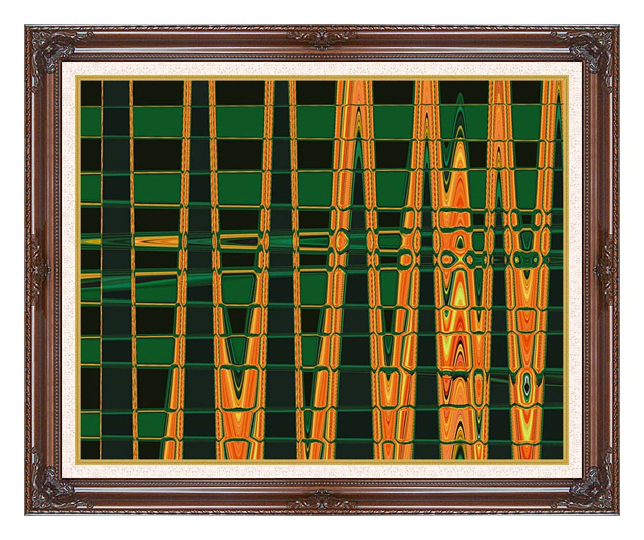 Lora Ashley Green and Orange Abstract with Dark Regal Frame w/Liner