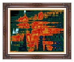 Lora Ashley Green And Orange Tapestry canvas with dark regal wood frame