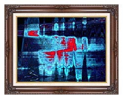 Lora Ashley Light In Blue And Red canvas with dark regal wood frame