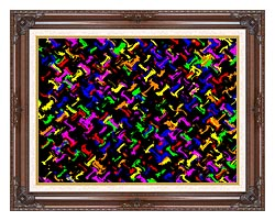 Lora Ashley Contemporary Rainbow Colors canvas with dark regal wood frame
