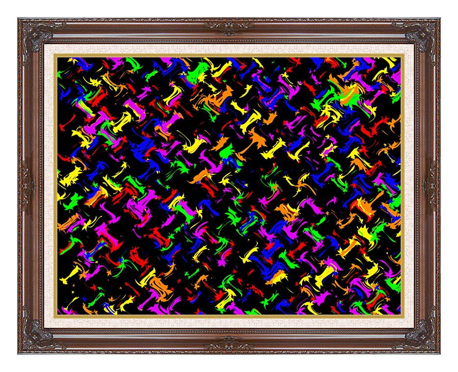 Lora Ashley Contemporary Rainbow Colors with Dark Regal Frame w/Liner