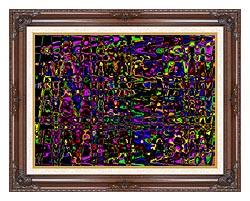 Lora Ashley Rainbow Abstract canvas with dark regal wood frame