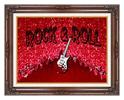 Lora Ashley Rock And Roll Guitar canvas with dark regal wood frame