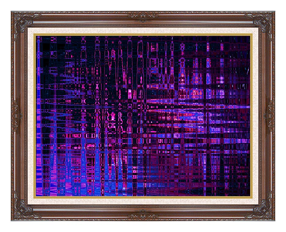 Lora Ashley Pink and Blue Light Show with Dark Regal Frame w/Liner