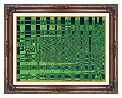 Lora Ashley Green And Blue Weave canvas with dark regal wood frame