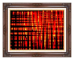 Lora Ashley Red Yellow And Black Abstract canvas with dark regal wood frame