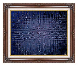 Lora Ashley Black And Blue Tapestry canvas with dark regal wood frame