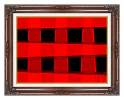 Lora Ashley Modern Black And Red Abstract canvas with dark regal wood frame
