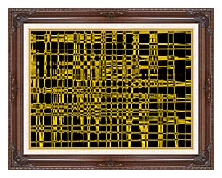 Lora Ashley Contemporary Yellow Abstract canvas with dark regal wood frame