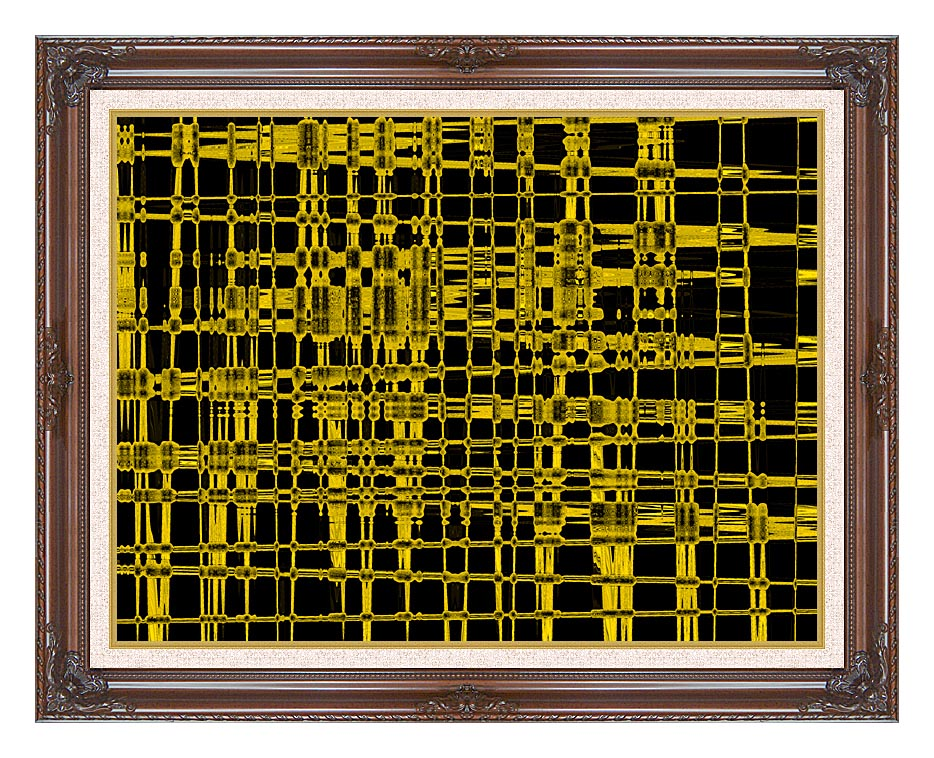 Lora Ashley Contemporary Yellow Abstract with Dark Regal Frame w/Liner