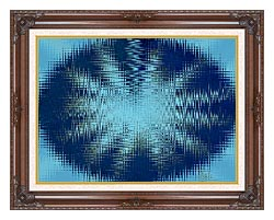 Lora Ashley Abstract Blue Flower canvas with dark regal wood frame