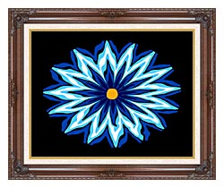 Lora Ashley Contemporary Blue Flower canvas with dark regal wood frame