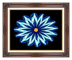 Lora Ashley Contemporary Blue Flower canvas with dark regal wood frame