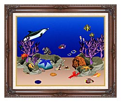 Lora Ashley Ocean Scene Underwater canvas with dark regal wood frame