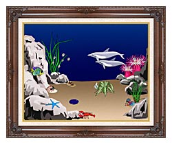 Lora Ashley Dolphins Swimming canvas with dark regal wood frame