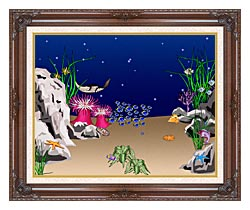 Lora Ashley Sting Ray canvas with dark regal wood frame