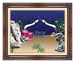 Lora Ashley Spotted Dolphins canvas with dark regal wood frame