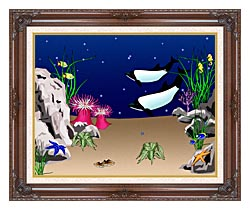 Lora Ashley Whales Swimming canvas with dark regal wood frame