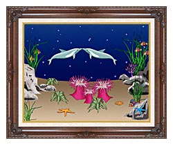 Lora Ashley Kissing Dolphins canvas with dark regal wood frame