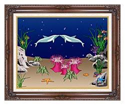 Lora Ashley Kissing Dolphins canvas with dark regal wood frame