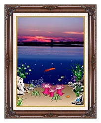 Lora Ashley Ocean Scene Above And Below canvas with dark regal wood frame