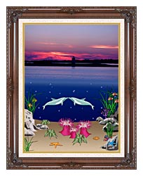 Lora Ashley Lighthouse Above Dolphins Below canvas with dark regal wood frame