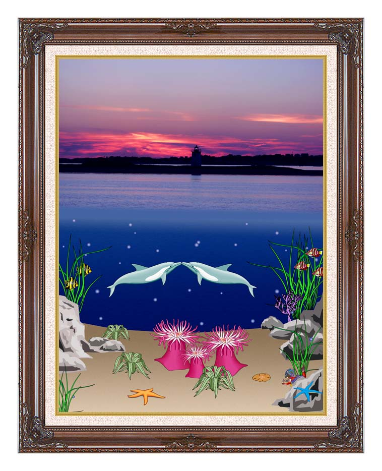 Lora Ashley Lighthouse Above, Dolphins Below with Dark Regal Frame w/Liner