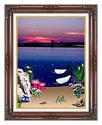 Lora Ashley Lighthouse Above Whales Below canvas with dark regal wood frame