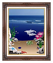 Lora Ashley Dolphins Below The Ocean Waves canvas with dark regal wood frame