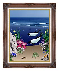 Lora Ashley Whales Below The Ocean Waves canvas with dark regal wood frame