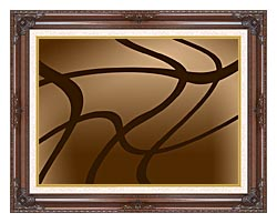 Lora Ashley Brown Abstract canvas with dark regal wood frame
