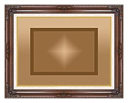 Lora Ashley Brown And Tan Modern canvas with dark regal wood frame