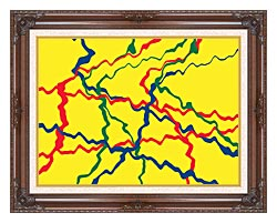 Lora Ashley Yellow Abstract canvas with dark regal wood frame