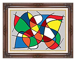 Lora Ashley Abstract canvas with dark regal wood frame
