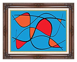 Lora Ashley Blue And Red Abstract canvas with dark regal wood frame