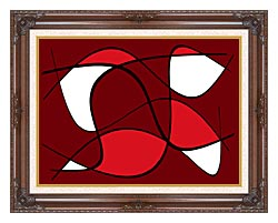Lora Ashley Maroon Abstract canvas with dark regal wood frame