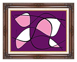 Lora Ashley Purple And Pink Abstract canvas with dark regal wood frame