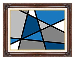 Lora Ashley Blue And Grey Abstract canvas with dark regal wood frame