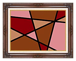 Lora Ashley Earthtone Abstract canvas with dark regal wood frame