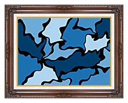 Lora Ashley Blue Modern Abstract canvas with dark regal wood frame