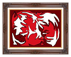 Lora Ashley Red And White canvas with dark regal wood frame